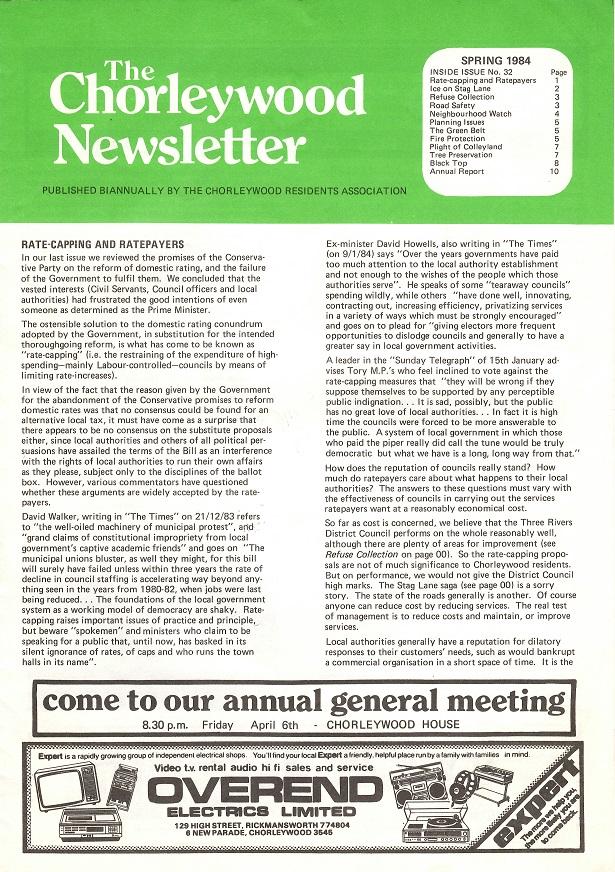 Chorleywood News Spring 1984 page 1