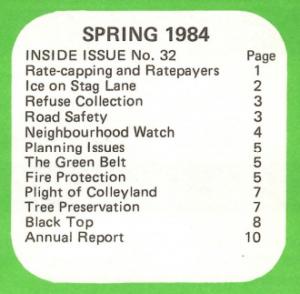Contents of Chorleywood News Spring 1984