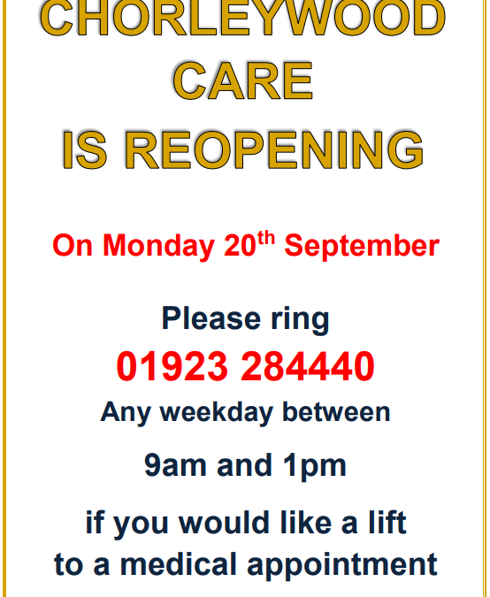 Chorleywood Care to reopen